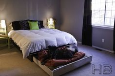 A trundle bed makes a great sleeping space for a furry friend. | 26 DIYs Your Pet Will Totally Appreciate