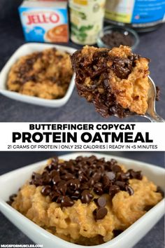 Healthy Snacks All your favorite Butterfinger flavors stuffed into a bowl of protein oatmeal with 21 grams of protein and only 252 calories per bowl. Protein Powder Recipes, High Protein Recipes, Protein Foods, High Protein Desserts, Protein Deserts, Protein Ball, Protein Dinner, Healthy Protein Breakfast, Gourmet Recipes