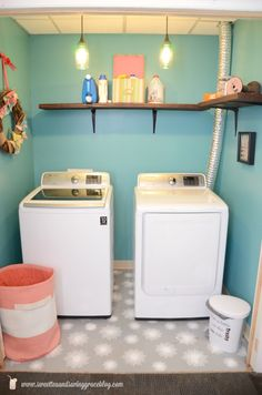 Laundry Room Makeover with Kaleidoscope Stars Stencil from Royal Design Studio | via  Sweet Tea & Saving Grace