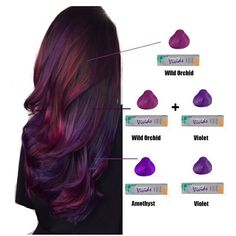 Lil breakdown of the colors used for hair I forgot the dang plus sign for the bottom color, but you get the idea in both mixtures I only used a tiny bit of Jen VandenBos violet is one strong motha. I used all diagonal sections, per usual. Hair Color And Cut, Cool Hair Color, Oil Slick Hair Color, Balayage Hair, Haircolor, Balayage Color, Pravana Hair Color, Hair Highlights, Brown Hair Purple Highlights