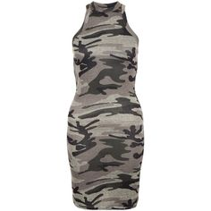 New Look Petite Green Camo Print Sleeveless Dress ($22) ❤ liked on Polyvore featuring dresses, green pattern, green print dress, green mini dress, petite dresses, cami dress and slimming dresses