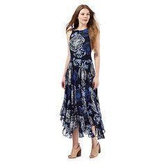 RJR.John Rocha Navy floral print dipped hem maxi dress | Debenhams