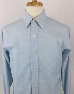 Brooks Brothers Mens Dress Shirt No Iron Sz 15 32 Blue Long Sleeve Button Up AA6 #BrooksBrothers