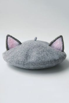Tuibianji Gray Cat Ear Felt Beret | Hats at DEZZAL