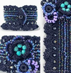 MADE TO ORDER: 3-5 BUSINESS DAYS  This beautiful stylish bracelet is crochet from microfiber thread in ink color. It is decorated with crochet