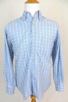 Ermenegildo Zegna Shirt Large Checkered Plaid Cotton Oxford Button Collar Italy #ErmenegildoZegna #ButtonFront