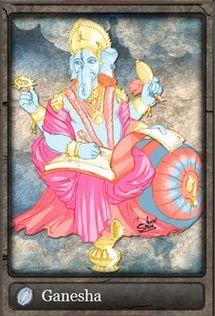 """Ganesha, Ganexa, Ganesa, Ganesh ou (em sânscrito: गणेश, ou श्रीगणेश, quando usado para distinguir status de """"senhor"""") é um dos mais conhecidos e venerados deuses do hinduísmo. Ele é o primeiro filho de Shiva e Parvati, e o esposo de Buddhi (também chamada Riddhi) e Siddhi. Ele é chamado também de Vinayaka em Kannada, Malayalam e Marathi, Vinayagar e Pillayar em tâmil, e Vinayakudu em Telugu. Ga simboliza Buddhi (intelecto) e Na simboliza Vijnana (sabedoria)."""