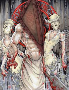Pyramid Head and Nurses Silent Hill Poster Print by ChrisOzFulton, $10.00