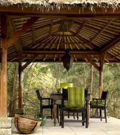Palapa // Love the thatch roof idea for an outdoor area. They were awesome when vacationing in Mexico. Outdoor Living Rooms, Outside Living, Outdoor Dining, Outdoor Spaces, Outdoor Decor, Bamboo Structure, Shade Structure, Backyard Retreat, Backyard Ideas