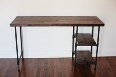 Reclaimed Wood Desk w/ 2 Shelves