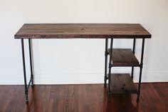 Reclaimed Wood Desk w/ 2 Shelves