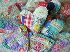 Quilt hearts-I have some old ragged quilts things like this will give them a second life