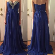 Strapless Prom Dress Details: Ruched Bodice, Lace Up Back, Back zipper, Jewel Detailing. Fabric: 100% polyester, chiffon  Neckline: Strapless sweetheart Wasteline: Natural Dresses Prom