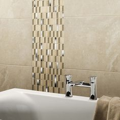 Delaware Cream Glass/Stone Mix Linear Mosaic 15x50mm Buy Now At Horncastle Tiles For Lowest UK Prices!