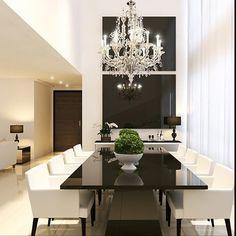 Sala de jantar em preto e branco  pé direito alto. Love it  Projeto by Ponto 3…