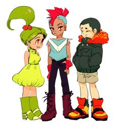 Left to right:  Chikorita, Totodile, Cyndaquil