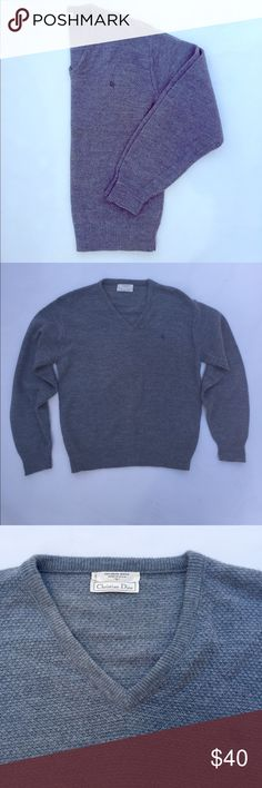 Christian Dior Gray Sweater Vintage Christian Dior v-neck sweater made of 100% Orlon Acrylic. Used in good condition. Some light pilling. This sweater is a men's large and can be worn as an oversized boyfriend sweater or as is! Dior Sweaters V-Necks