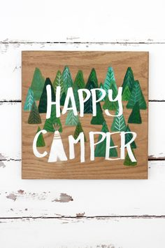 Happy Camper painting. Acrylic on wood. Trees, teepee, forest, metallic, gold, camping, woodland nursery art, children's art, little boy by OliveTwigStudio on Etsy https://www.etsy.com/listing/211440970/happy-camper-painting-acrylic-on-wood