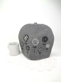 Wool tea cozy Grey garden teacosy Appliqued by HereAtSmallGoods,