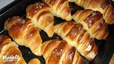 Kiflik thang zong technikával | Nosalty Croation Recipes, Bread Dough Recipe, Russian Recipes, Croissant, Dumplings, Hot Dog Buns, Sausage, Anna, Pizza