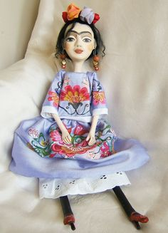 Frida Kahlo Blue Hand made Art Dolls Paper by BarbaraCharacters