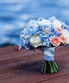 Букет невесты голубая гортензия, пионы, розы Голубой букет невесты, синий букет Букет от Anna Shelli