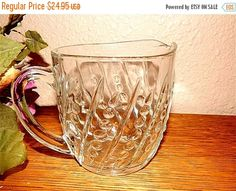 Pitcher Clear Depression Glass Vintage 1940's  by TKSPRINGTHINGS