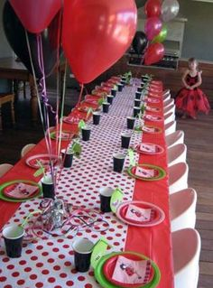 Modern Ladybug or Lovebug Party Theme Grasses Grass centerpiece