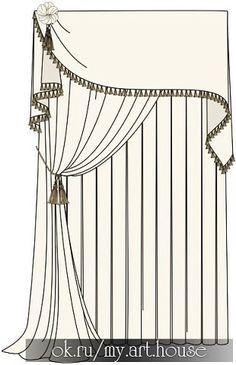 Resultado de imagen de vintage illustrations of regency mouldings Curtains And Draperies, Types Of Curtains, Curtains Living, Drapery Panels, Window Curtains, Valance, Curtain Styles, Curtain Designs, Window Coverings