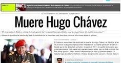 """O jornal espanhol """"El País"""" destaca a notícia da morte do presidente venezuelano, Hugo Chávez, 58, nesta terça-feira, vítima de um câncer na região pélvica, com o qual convivia há cerca de um ano e meio. A publicação lembra do líder venezuelano como """"o caudilho bolivariano"""""""