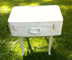 Vintage suitcase table/night stand by VeraJanesGifts on Etsy, $70.00