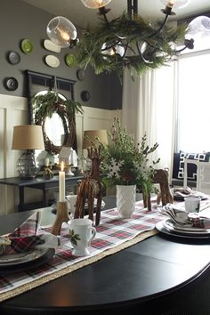 christmas home tour. I love the plaid on the table.