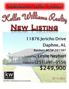 11876 Jericho Drive, Daphne, AL...MLS# 201587...$249,900...LAKEFRONT LIVING AT AN AFFORDABLE PRICE; LIKE NEW 4/2.5 ON PREMIUM LAKEFRONT FENCED LOT; TILE FLOORING;CARPET IN BR'S; OPEN/SPLIT FLOORPLAN; GAS FP; EAT-IN KITCHEN W/BREAKFAST BAR; GRANITE COUNTERTOPS AND SS APPLIANCES; MASTER BATH W/JETTED TUB/SEPARATE SHOWER/EXTRA LARGE W/I CLOSET; SEPARATE OFFICE W/FRENCH DOORS; CUSTOM BLINDS; ENJOY SUNSETS FROM COVERED PATIO; COMMUNITY POOL/CLUBHOUSE. Contact Leslie Anderson Neyhart at…
