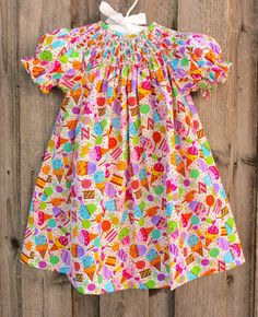 Party Print Smocked Dress from Smocked Auctions