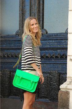 Zara dress and neon green Cambridge satchel. LOVE!