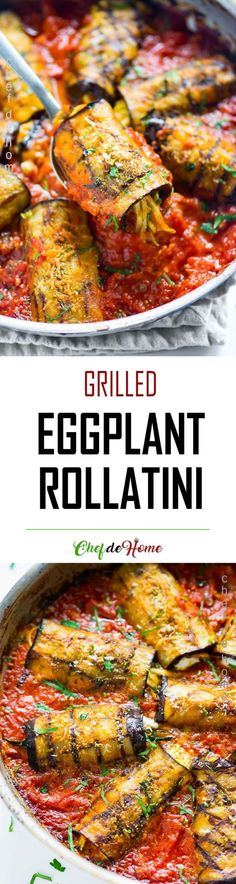 Easy eggplant rollatini recipe with garlic tomato sauce