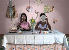 """Her work playfully explores all the dinner-table taboos – race, politics, religion, sex – using a humorous visual language created by the juxtaposition of iconography and appropriated images."" – Mail and Guardian"