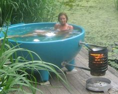 Wood fired hot tub. The Dutch tub! Want to have this in my future dream garden! ❤️