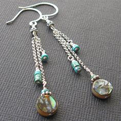 Abalone turquoise and sterling silver earrings  by southwinddesign, $34.00