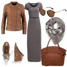 Adoro l'accostamento di questi due colori. Il caldo e il freddo insieme. Abito lungo e semplice, abbinato ad un capospalla grintoso in pelle, sneakers in tinta, di gran moda e comodissime. Tutti gli accessori abbinati, perfette per il giorno... con gran stile