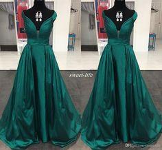 Elegant Dark Green Long Prom Dresses Sweetheart Pleated Satin A-Line Cap Sleeves…