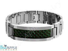 NewTungsten Carbide High Polish Heavy Designer Link ID Bracelet with Green & Black Carbon Fiber Inlay Excellent Men's Fashion Gift For Him