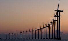 The Conservative UK government has announced a withdrawal of support for onshore windfarms. Denmark's windfarms have strong government backing. Photograph: Max Mudie/Alamy