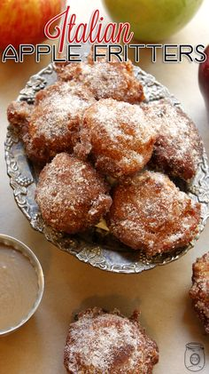 Apple Fritters Italian Style with Caramel Dipping Sauce - The Cottage Market /Farmhouse/ Life Hacks/ Recipes/ Free Printables + - Styles Cool Apple Fritter Recipes, Donut Recipes, Apple Recipes, Fall Recipes, Sweet Recipes, Cooking Recipes, Desert Recipes, Just Desserts, Delicious Desserts