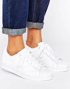 adidas Originals Foundation All White Superstar Sneakers