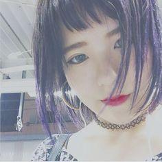 WEBSTA @ sakusaku_girl - ✡️*前髪きりすぎたクソガキ。毛先紫良い感じに抜けてきた〜*#hair #haircolor #purple #manicpanic#shorthair #girl #japan #korean#japanesegirl #make #makeup #self#instagood #instadaily #instalove#前髪 #ショート #ショートヘア #マニパニ#紫 #毛先カラー #派手 #マニックパニック**