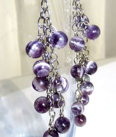 Women's Lavender Glass Marble Drop Chain Earrings by AddisDesign1, $17.00