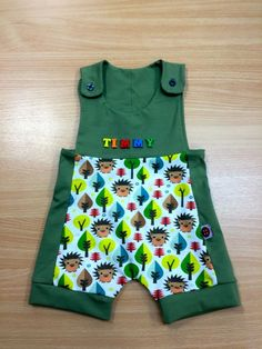 New Personalised - Green - Summer Dungarees-Made in England by Polka Style Ltd