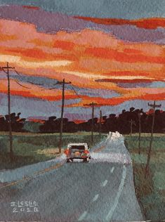 Sunset Over Ohio Cornfields Gouache painting by Jimmy Leslie Sunset Over. - Sunset Over Ohio Cornfields Gouache painting by Jimmy Leslie Sunset Over Ohio Cornfields - Cute Canvas Paintings, Small Canvas Art, Mini Canvas Art, Sunset Paintings, Sunset Painting Easy, Road Painting, Watercolor Sunset, Bright Paintings, Sunset Art