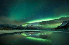 green skies at night...